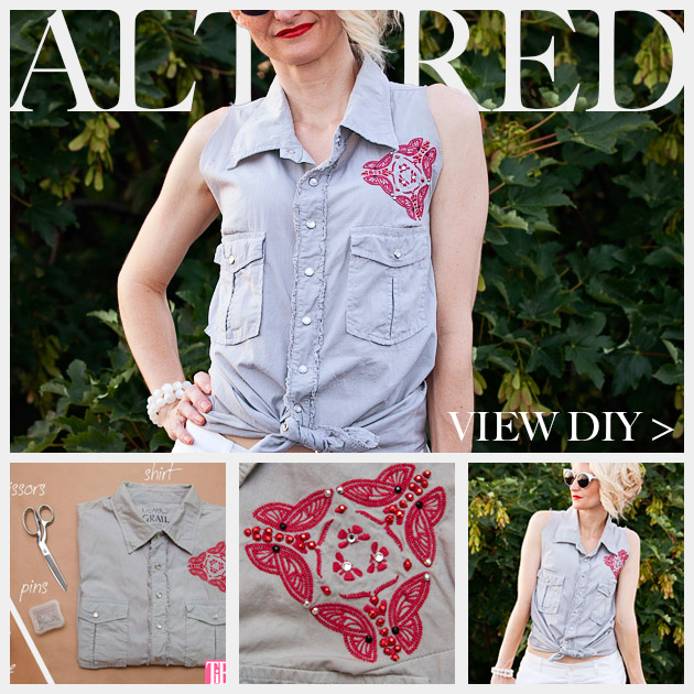 How to Alter a Man's Shirt into a Cute Summer Top Feature www.trinketsinbloom.com