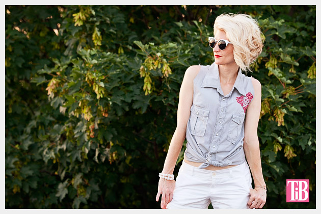 How to Alter a Man's Shirt into a Cute Summer Top Photo 1