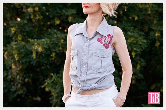 How to Alter a Man's Shirt into a Cute Summer Top Photo