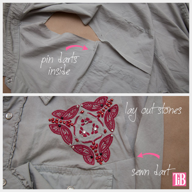 How to Alter a Man's Shirt into a Cute Summer Top Darts and Stones