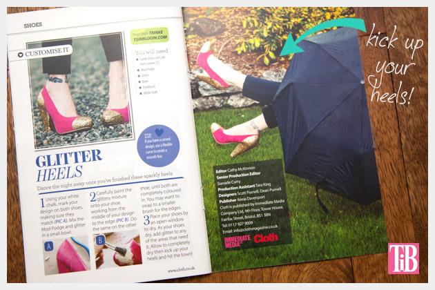 Cloth Magazine Feature DIY Glitter Shoes