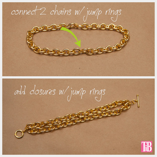 DIY Chain Bracelet with Studs Connect Chains