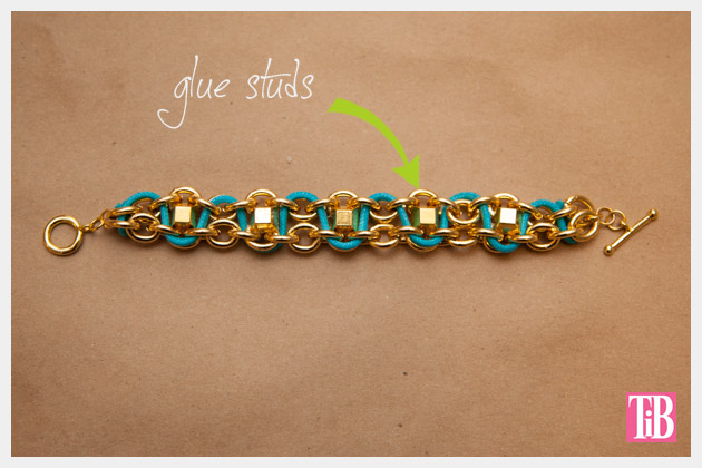 DIY Chain Bracelet with Studs Adding Studs