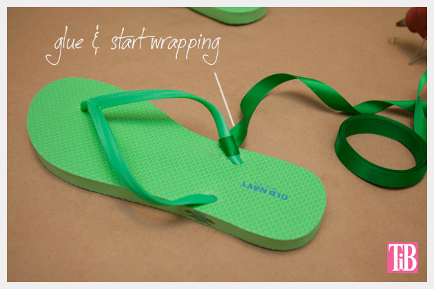 Green and Gold DIY Flip Flops Wrapping