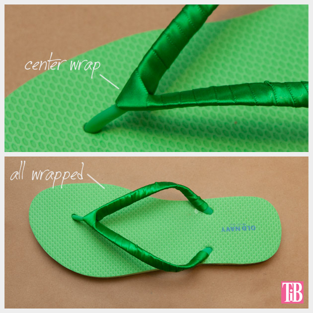 Green and Gold DIY Flip Flops Wrapping Detail