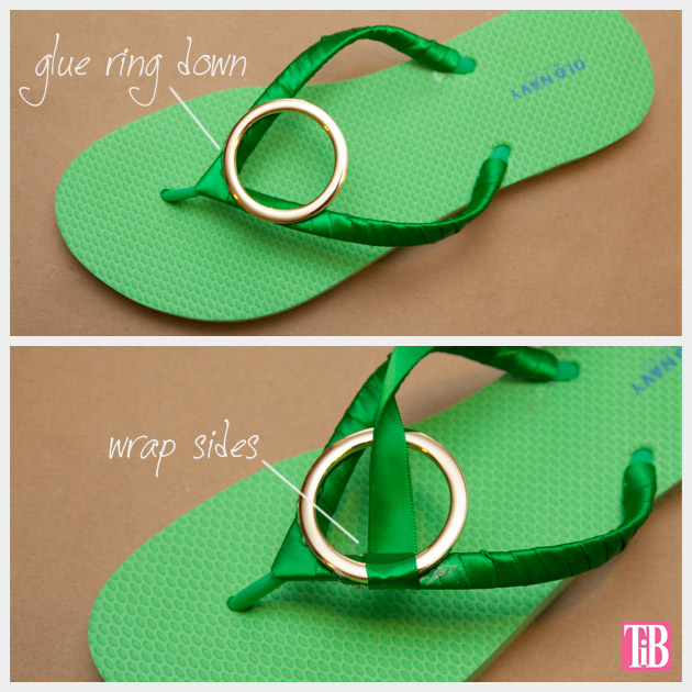 Green and Gold DIY Flip Flops Adding Gold Ring