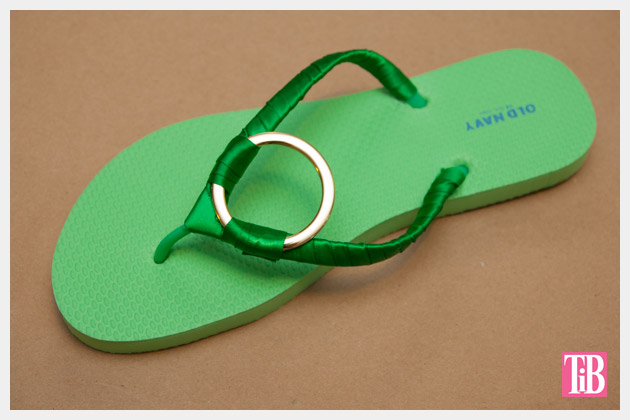 Green and Gold DIY Flip Flops Finished
