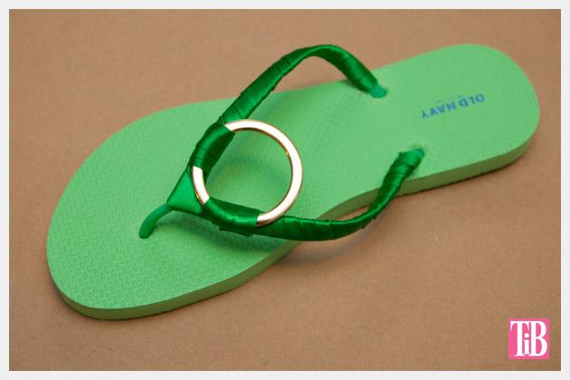 Green and Gold DIY Flip Flops Finished
