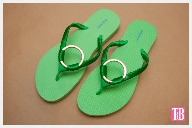 Green and Gold DIY Flip Flops Finished Photo