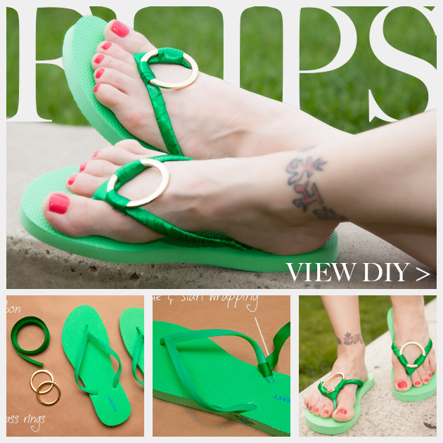 Green and Gold DIY Flip Flops Feature www.trinketsinbloom.com