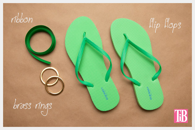 Green and Gold DIY Flip Flops Supplies
