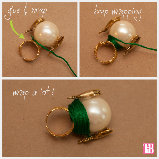 OZ DIY Crystal Ball Ring Emerald Wrap