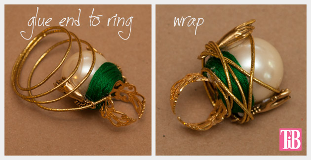 OZ DIY Crystal Ball Ring Golden Wrap