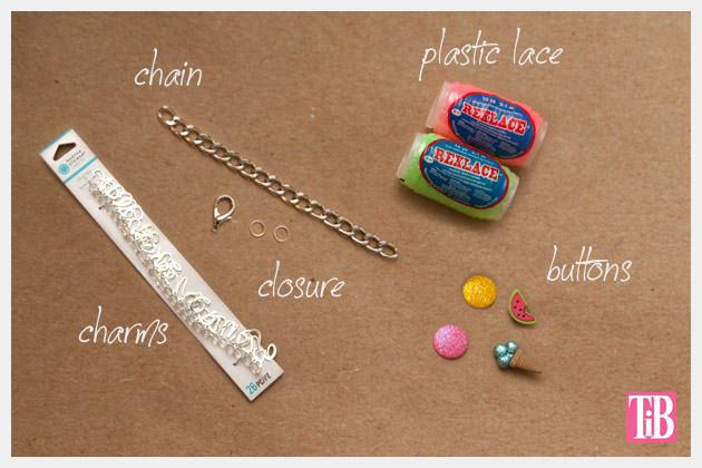 Candy Colored DIY Charm Bracelet Supplies