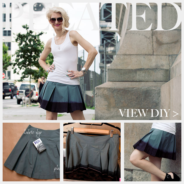 DIY Dip Dyed Pleated Skirt Tutorial Feature www.trinketsinbloom.com