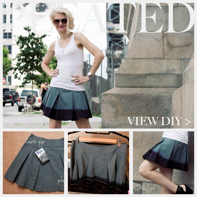 DIY Dip Dyed Pleated Skirt Tutorial Feature www.trinketsinbloom.com