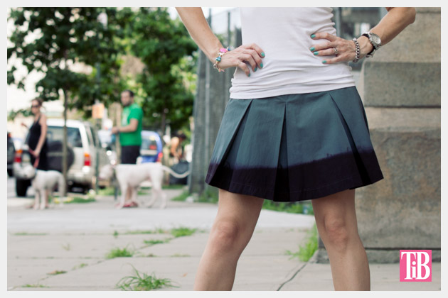 DIY Dip Dyed Pleated Skirt Tutorial Photo Close Up