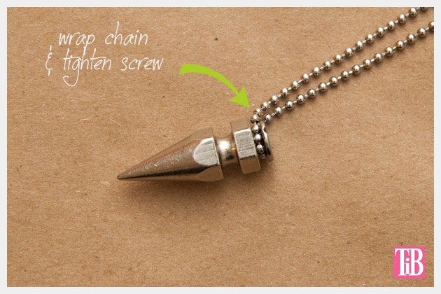 DIY Spike Necklace Wrapping Chain