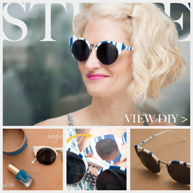 DIY Blue & White Striped Sunglasses Feature www.trinketsinbloom.com