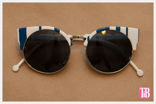 DIY Blue and White Striped Sunglasses Finished 2