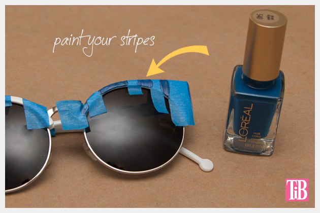 DIY Blue and White Striped Sunglasses Painting