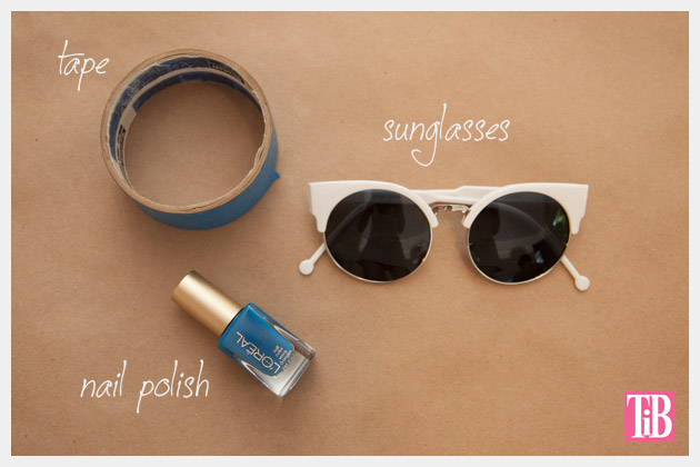 DIY Blue and White Striped Sunglasses Supplies