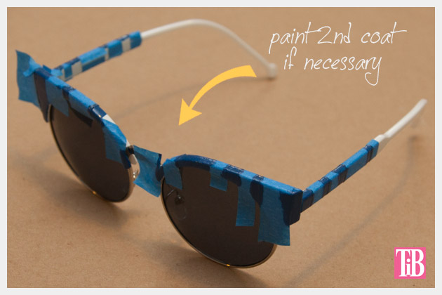DIY Blue and White Striped Sunglasses Painting 2