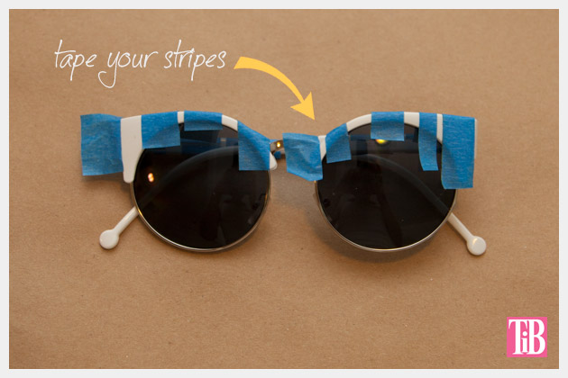 DIY Blue and White Striped Sunglasses Taping
