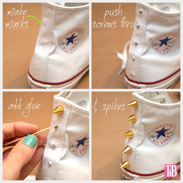 DIY Studded Converse Adding Spikes
