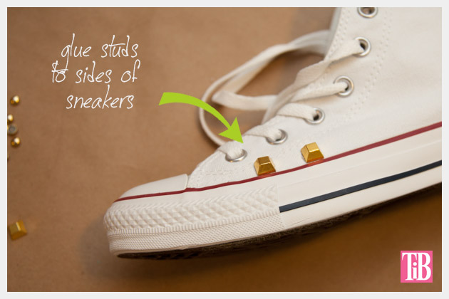 DIY Studded Converse Adding Studs