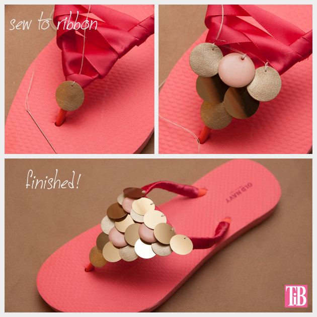 DIY Flip Flops with Paillettes Sewing Paillettes