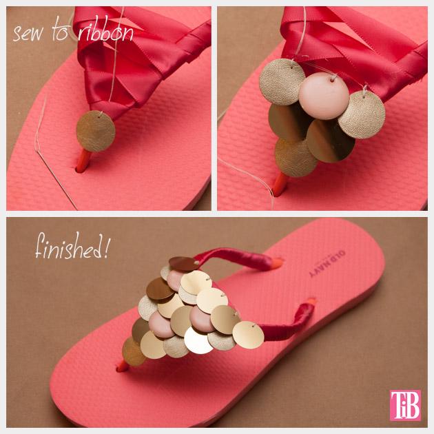 DIY Flip Flops with Paillettes Sewing Paillettes
