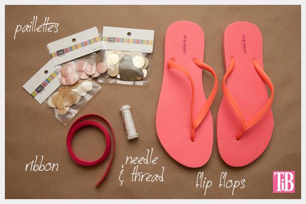 DIY Flip Flops with Paillettes Supplies