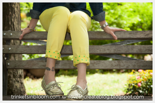 DIY Jeans with Printed Cuffs Photo