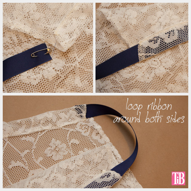 DIY Lace Tank with Ribbon Adding Ribbon at Neck