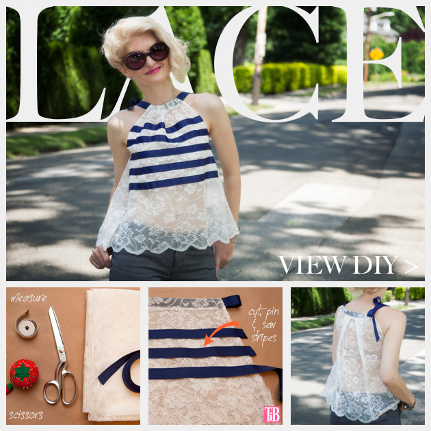 DIY Lace Tank with Ribbon Feature www.trinketsinbloom.com