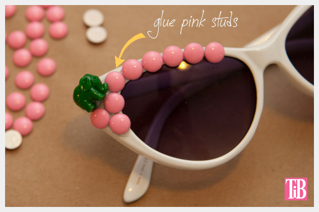 Pink and Green Elephant DIY Sunglasses Studs