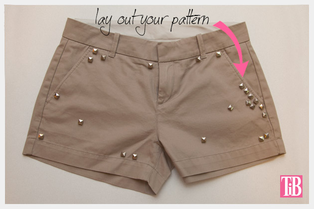 DIY Studded Shorts Layout