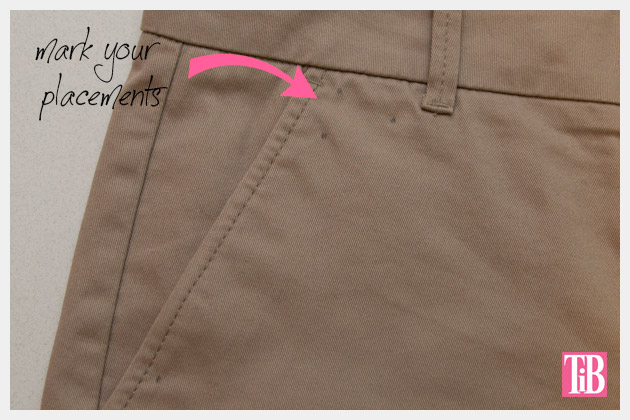 DIY Studded Shorts Marking Design