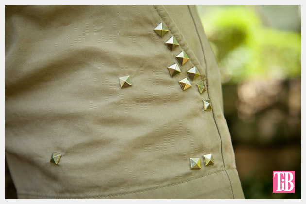 DIY Studded Shorts Detail