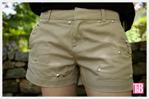 DIY Studded Shorts Front