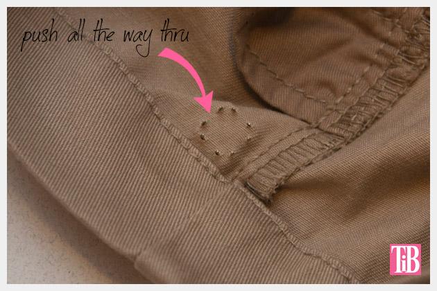 DIY Studded Shorts Push Prongs All The Way Thru