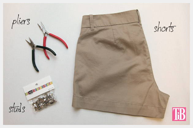 DIY Studded Shorts Supplies