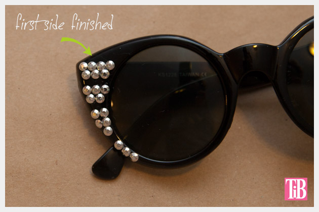 DIY Sunglasses with Silver Nailheads First Side Finished