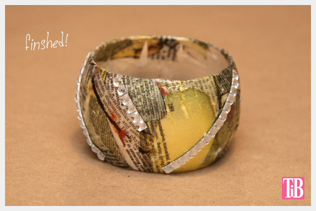 DIY Bangle Bracelet with Tape Finished with Rhinestone Tape