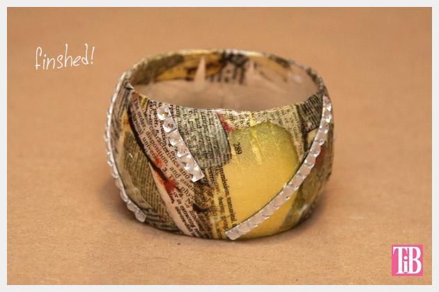DIY Bangle Bracelet with Tape Finished with Rhinestone Tape