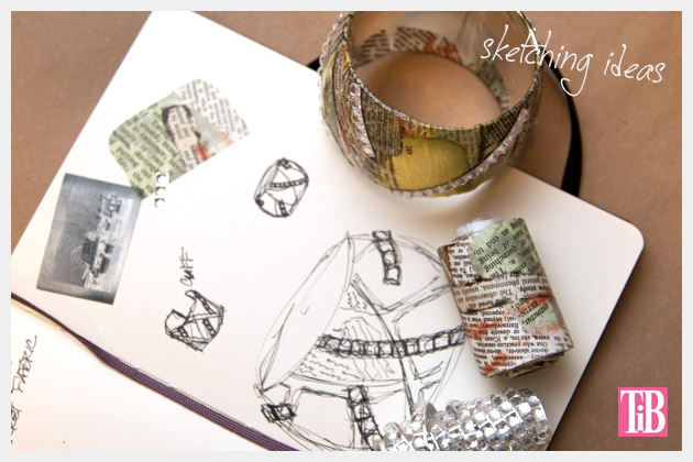 DIY Bangle Bracelet with Tape Inspiration and Sketches