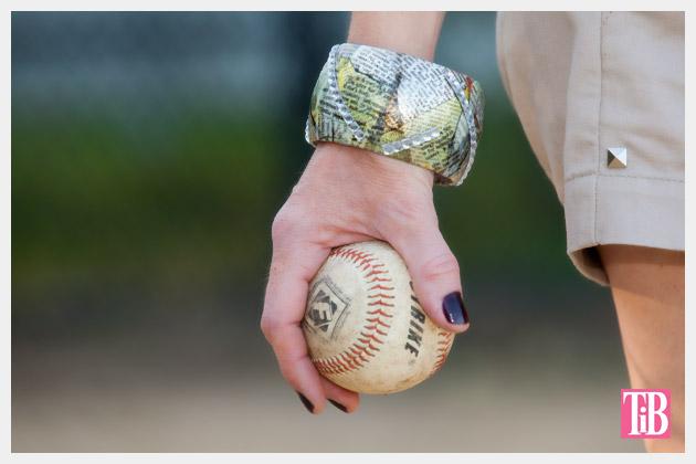 DIY Bangle Bracelet with Tape Photo Holding Baseball