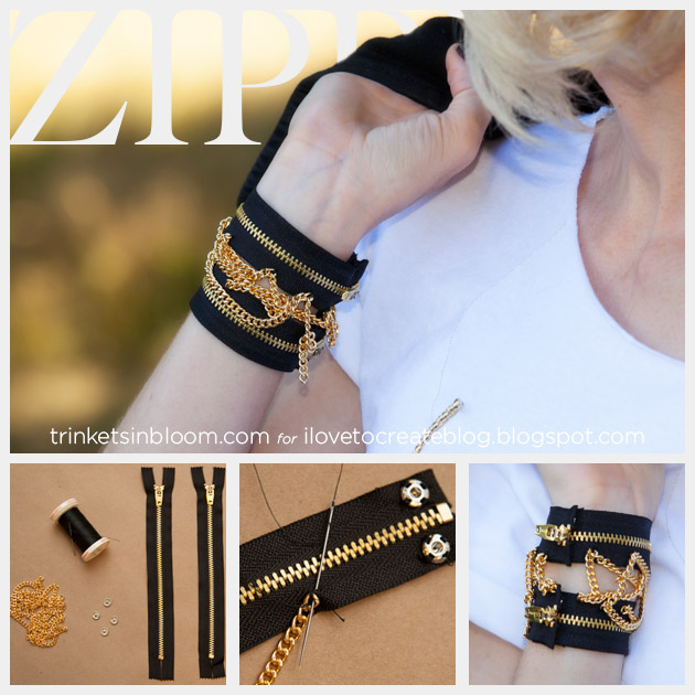 DIY Zipper Bracelet with Chains Feature www.trinketsinbloom.com