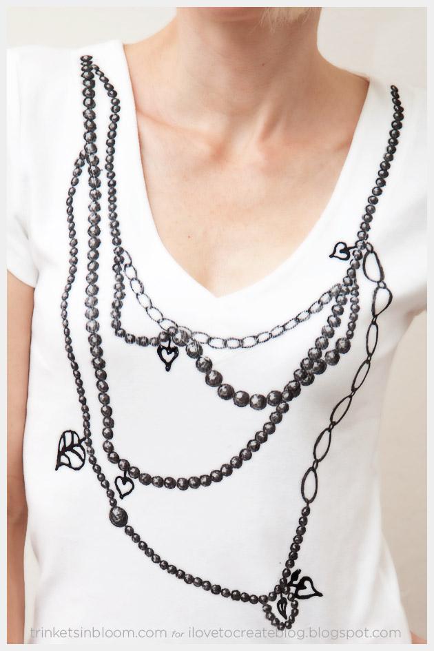 Trompe L'Oeil Necklace T-Shirt DIY Close Up